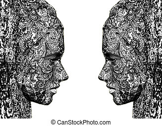 circus face art woman close up portrait - isolated face art...