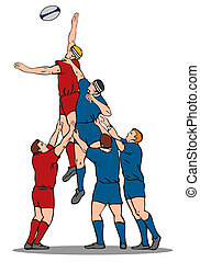 Rugby Player Catching Lineout Ball - Illustration of a rugby...