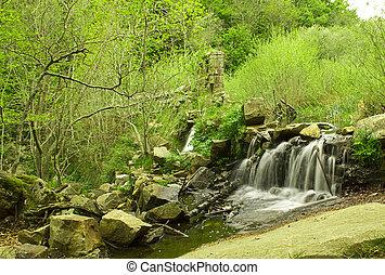 美麗, 山, 很少, 放松,  gualba, 河, 瀑布, 岩石, 地方, 打掃,  (barcelona,  spain), 帶, 新鮮, 叫