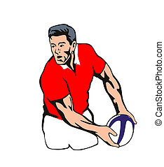 Welsh Rugby player passing ball