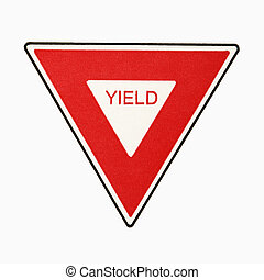 Yield sign - Yield road sign against white background