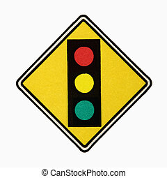 Stoplight sign. - Stoplight ahead road sign against white...