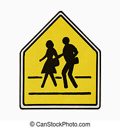 Pedestrian crossing sign - Pedestrian crossing sign against...
