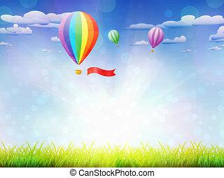 Hot air balloons over grass field - Fresh green grass and...