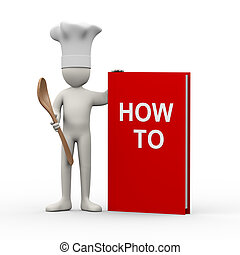 3d chef with how to book - 3d illustration of cook man...