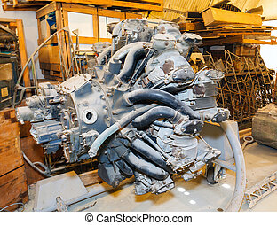 old piston aircraft engine - dusty old piston aircraft...