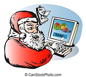 santa claus sending e-mail