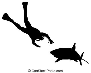 Scuba Diver and Shark Silhouette