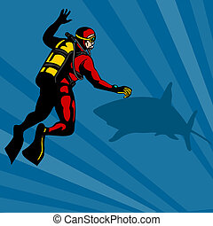 Scuba Diver and Shark - Illustration of a scuba diver...