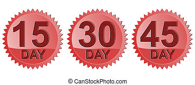 Number Days in Red Seal Icon - Illustration of icon15 Day,...