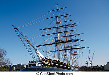 Cutty Sark Ship, London - View of the recently restored...