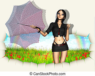 Woman with umbrella going out of wall - 3d woman with red...