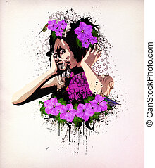 Wonderful flowers - Abstract retro illustration of girl with...
