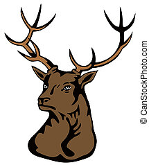 Stag Head - Retro illustration of a stag deer buck head...