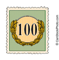 Number 100 in Stamp - Illustration of the number 100 set...