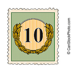 Number 10 in Stamp - Illustration of the number 10 set...