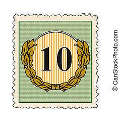 Number 10 in Stamp - Illustration of the number 10 set...
