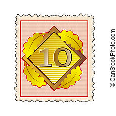 Number 10 Diamond Stamp - Illustration of number ten 10...