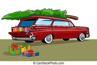 Red Car Station Wagon Christmas - Illustration of red car...