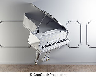 grand piano in the wall - luxury interior with grand piano...