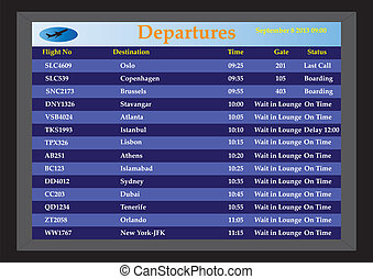 Airport Departures - An Airport Departures monitor showing...