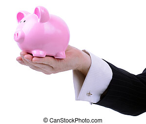 businessman coinbank - businessman holding out a piggy bank...