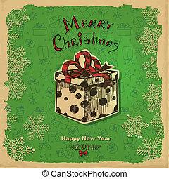 Christmas gift - Hand - drawn illustration, Christmas gift...