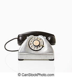 Rotary telephone. - Rotary telephone with black receiver.