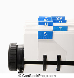 Rolodex. - Detail of rolodex with blue tabs.