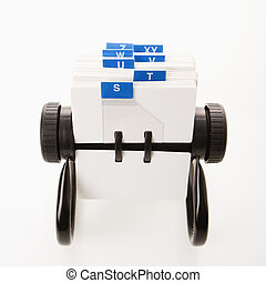 Rolodex. - Rolodex with blue letter tabs.