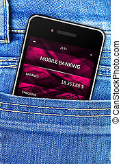 mobile phone in jeans trousers pocket - closeup of mobile...