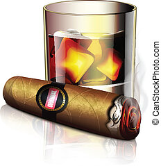 Cigar And Whiskey Icon