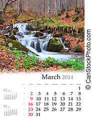 2014 Calendar. March. Colorful spring landscape with the river