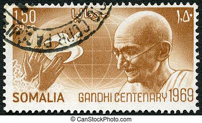 鴿,  1969, 郵票, 全球, 釋放,  -,  (1869-1948),  mohandas,  Gandhi, 手, 肖像, 列印,  circa,  1969:, 顯示,  karamchand, 索馬里