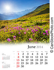 2014 Calendar. June. Beautiful summer landscape in the...