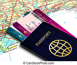 passport and fly tickets over map background - passport and...