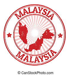 Malaysia stamp - Grunge rubber stamp with the name and map...