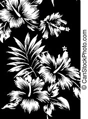 Hawaiian patterns, black and white tone - Seamless hibiscus...