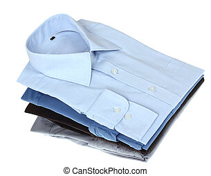 New blue and grey man's shirts, isolated over a white...