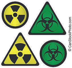 Signs Radiation and biological hazard vector illustration