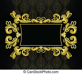 gold frame in the rococo style on a black background
