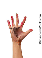 hand in watercolor paint on white background