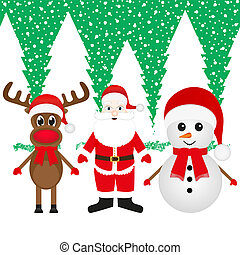 reindeer, snowman and Santa Claus - Christmas reindeer,...