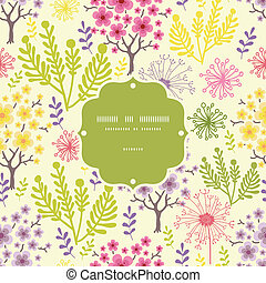 Blossoming trees frame seamless pattern background - Vector...