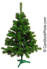 evergreen christmas tree undecorated isolated on white...