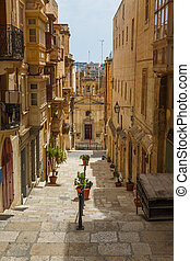 Maltese architecture in Valletta, Malta - Traditional...