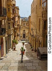 Maltese architecture in Valletta, Malta - Traditional...