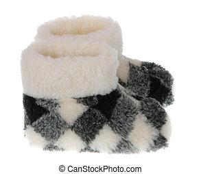 Warm domestic slippers from a sheepskin - Winter's warm...