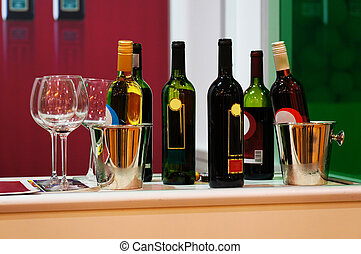 wine bottles on a counter