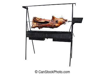 sucking-pig  grills on a spit